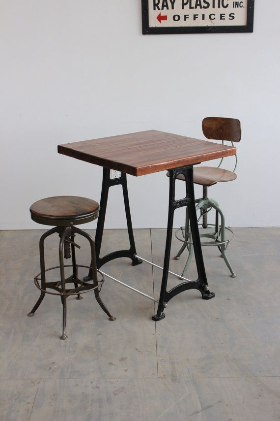 Vintage Dining Cafe Counter Bar Kitchen Island Table W Antique Cast Iron Legs Custom