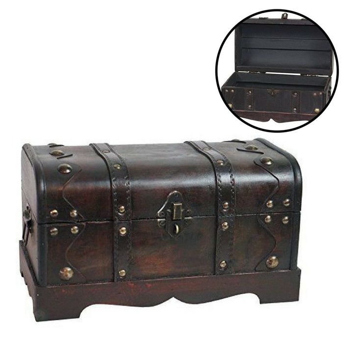 Wooden Treasure Chest Trunk Storage Organizer Antique Old Fashioned Style Home #Unbranded #AntiqueStyle