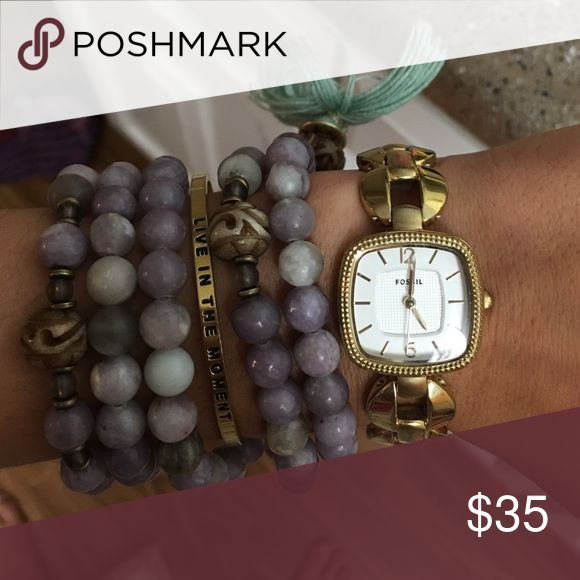 Fossil watch✨✨SALE✨✨final price drop! Beautiful gold fossil watch. Only worn a handful of times. Great piece to stack with others. Needs batteries but otherwise great condition! Fossil Accessories Watches