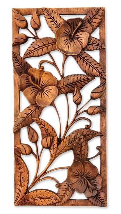 Artisan Crafted Floral Wood Relief Panel - Sweet Balinese Hibiscus | NOVICA