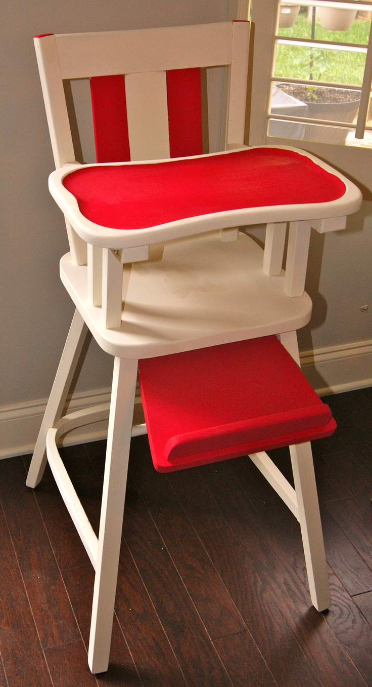 Painted wooden high chair - White And Hot Pink Antique Wooden High Chair