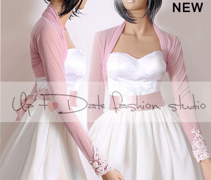 Bridal tulle blush pink bolero jacket long sleeves for Long sleeve blush wedding dress