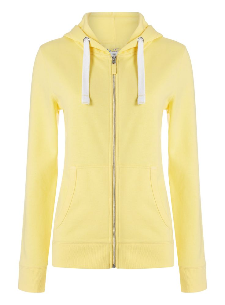 This yellow cotton rich hoody is a handy staple for your wardrobe, featuring chunky drawstrings and double pockets. Throw over any casual ensemble. Yellow wardrobe essential hoody Zip fastening 2 pockets Large drawstring fastening at the hood Ribbed cuffs Model's height is 5'11