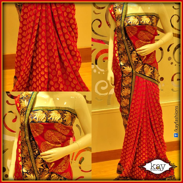 http://www.kayfashions.in/#!/ The art of draping a saree is not new for there are over 80 recorded ways of draping a saree. This is one attire for women where creativity can be used to a great extent and different styles are invented by women. This style, likewise, uses creativity. Can you guess how this one is draped?