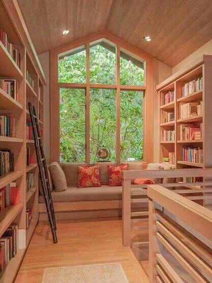 Natural Wood Library Nook built off Loft/Second Floor Stairs | #homelibraries #homelibraryinspiration