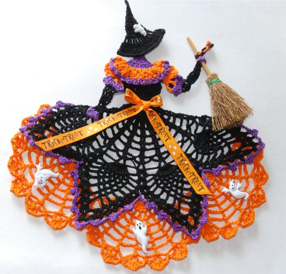For inspiration. Halloween Witch Crinoline Lady Hand Crochet Doily by designedbyl, $17.98 on ETSY.com