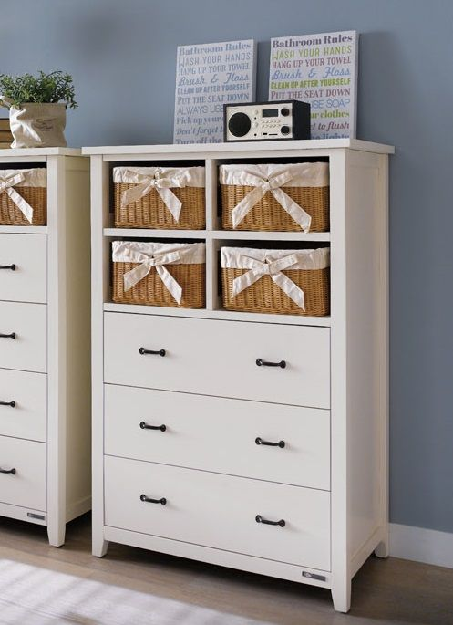 Ivan Tall Chest with 3 Wide Drawers and 4 Brown Baskets