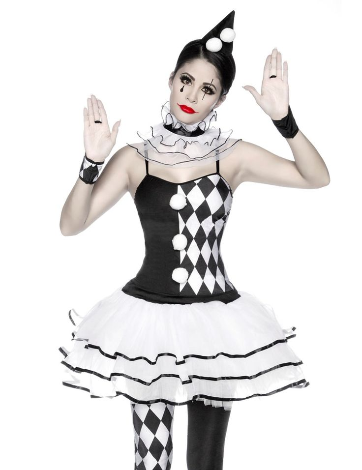 Harlekin Kostüm Fasching Karneval Petticoat-Kleid in Schwarz/Weiß
