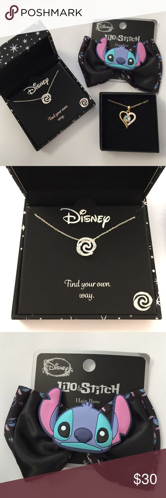 Disney Moana Necklace Unopened, brand new. Sorry I'm not sure how long the chain is since it's never been opened! Comes with a free Lilo and Stitch bow! Price is firm/no trades. Disney Jewelry Necklaces