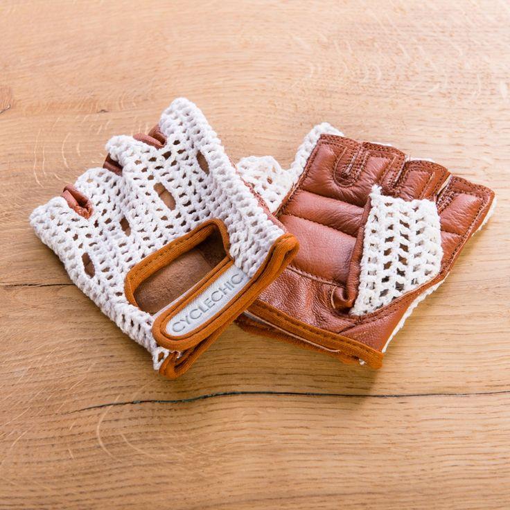 Retro Crochet Cycling Gloves - Classic Tan | Cyclechic | Cyclechic