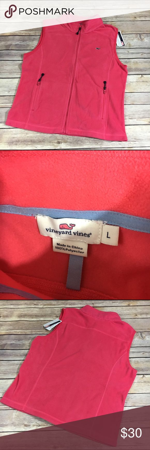 """NEW NWT Vineyard Vines Sailors Red Fleece Vest L NEW NWT Vineyard Vines Sailors Red Fleece Vest L  I'm honestly not sure if this is a girls large or a women's large.  It looks too big to be a girls large and too small to be a women's large, so here are the measurements for you.  Length = 21"""" P to P = 18"""" - if doubled, this falls between the girls' large chest measurement of 31.5"""" and the womens of 40"""" to 41.5"""".    So maybe more like a women's small to medium?  It is an outlet item.  #new…"""