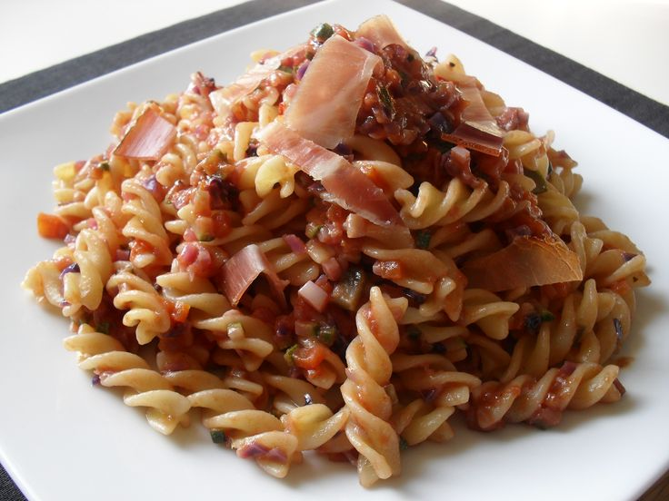 fusilli speck and vegetables mix sauce