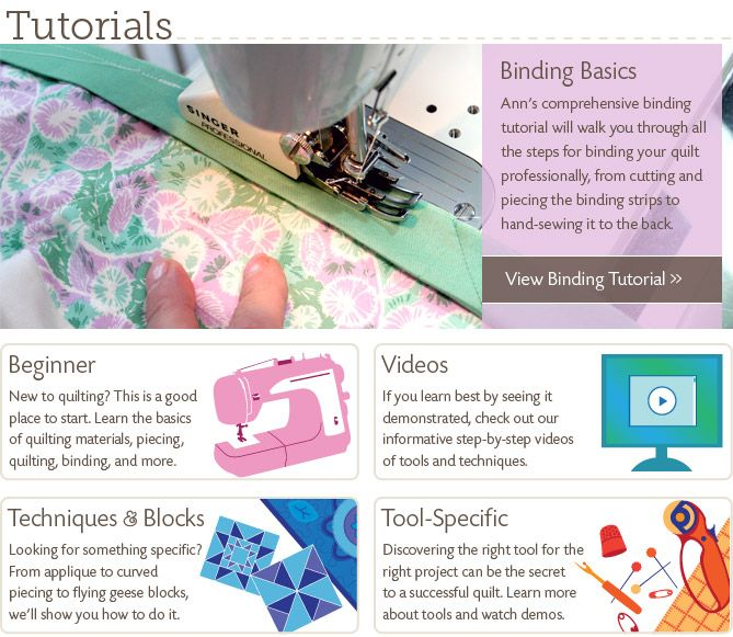 Quilting Tutorials from ConnectingThreads.com