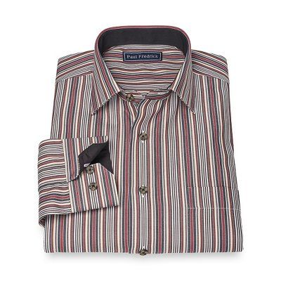 100% Cotton Stripe Jermyn Street Spread Collar Sport Shirt | Paul Fredrick