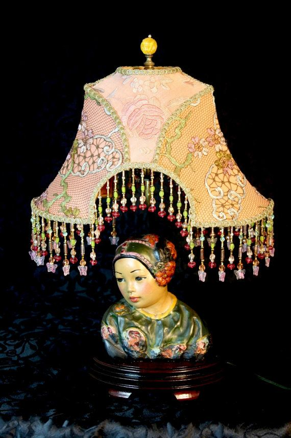 Vintage Esther Hunt Bust Chinese Lamp Ooak And Stunning