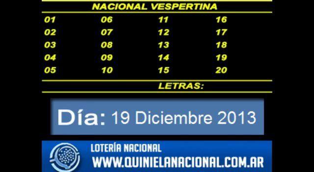 Loteria Nacional - La Quiniela Nacional Vespertina Jueves 19 de Diciembre 2013. Fuente: www.quinielanacional.com.ar