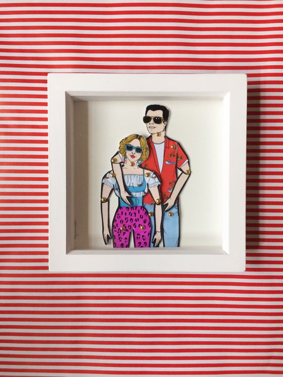 True Romance framed dolls! These beautiful little dolls are hand illustrated by myself, hand cut and pinned using mini gold brad pins then framed.  The frames come in a lovely little package that can be personalized all you have to do is message me with who the gift is TO: and FROM: and I can pop that on ready for gifting.  All dolls are roughly 25cm tall and are professionally printed on sturdy 300gsm matt card before being hand cut and pinned. All framed doll sets come in a little…