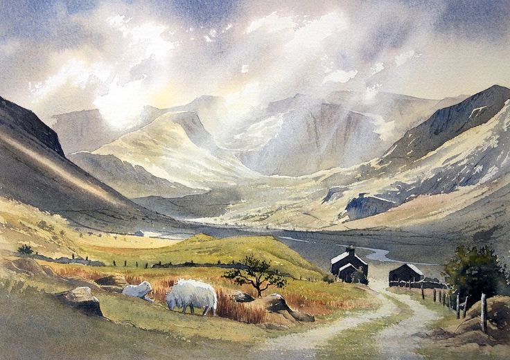 Landscape Watercolour paintings by Chris Hull of Snowdonia, North Wales, and the Lake District