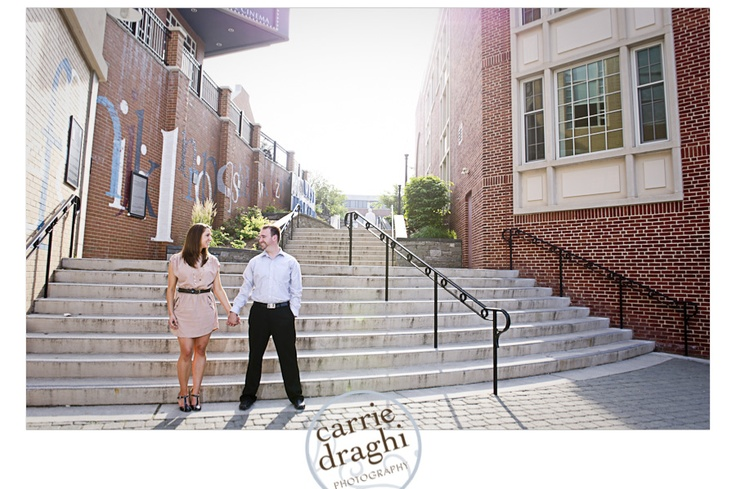 Cute engagement photo, taken on the side of the Blue Back Square entrance of the library - West Hartford