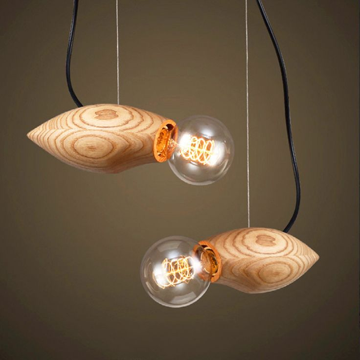 110V-220V E27 Boreal Europe Modern Wooden Fish Droplight Retro Restaurant  Pendant light LED Hanging Lamp  For Loft