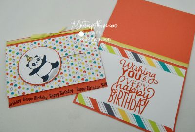 "Party Pandas, Bubbles & Fizz DSP, Classic Label punch, Layering Circles Framelits, Stitched Shapes Framelits, Stampin' Blends, Big On Birthdays (sentiment), Lemon Lime Twist 1/4"" Ombre Ribbon, Foam Adhesive Strips - Spinner card - video on blog"