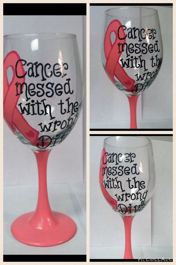 Breast cancer survivor painted wine glass Breast by DebDebsCrafts