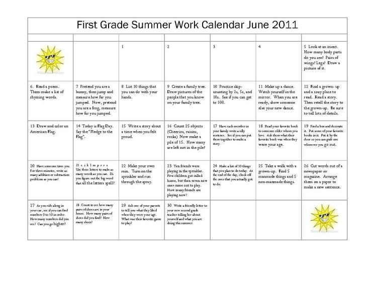 Calendar Activities For First Grade : Summer activities for first graders st grade