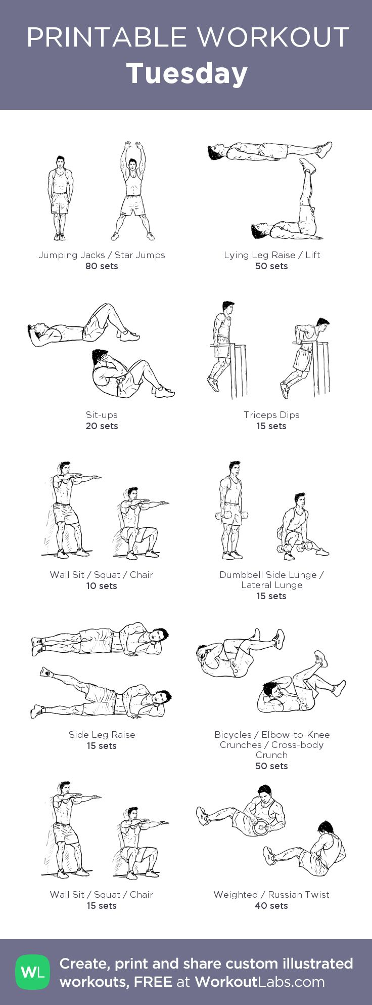 Tuesday:my visual workout created at WorkoutLabs.com • Click through to customize and download as a FREE PDF! #customworkout