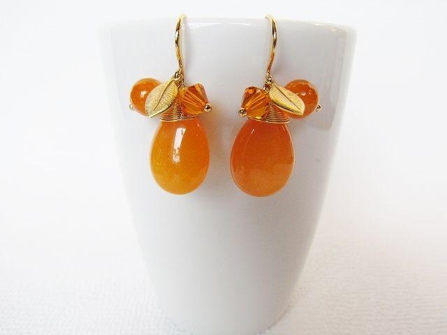 Vergoldete Ohrringe - Ohrringe - Orange und Gold - ein Designerstück von luluchic bei DaWanda
