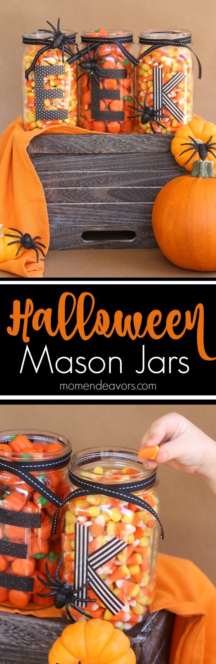 Easy DIY Halloween Mason Jars - perfect for a Halloween tablescape or Halloween mantel. #HandsOnCrafty AD