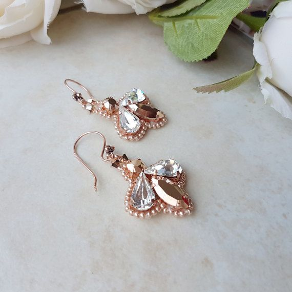 Rose gold earrings, Swarovski rose gold, bridal earrings, bridal drop earrings, beaded earrings, Swarovski earrings, handmade earrings, rose gold wedding, dangle bridal, Art deco earrings, wedding earrings,  crystal drop earring, drop earrings