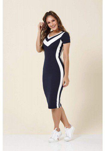 5ca7d02208 modelo cabelo castanho vestido azul marinho listras branca tatamartello