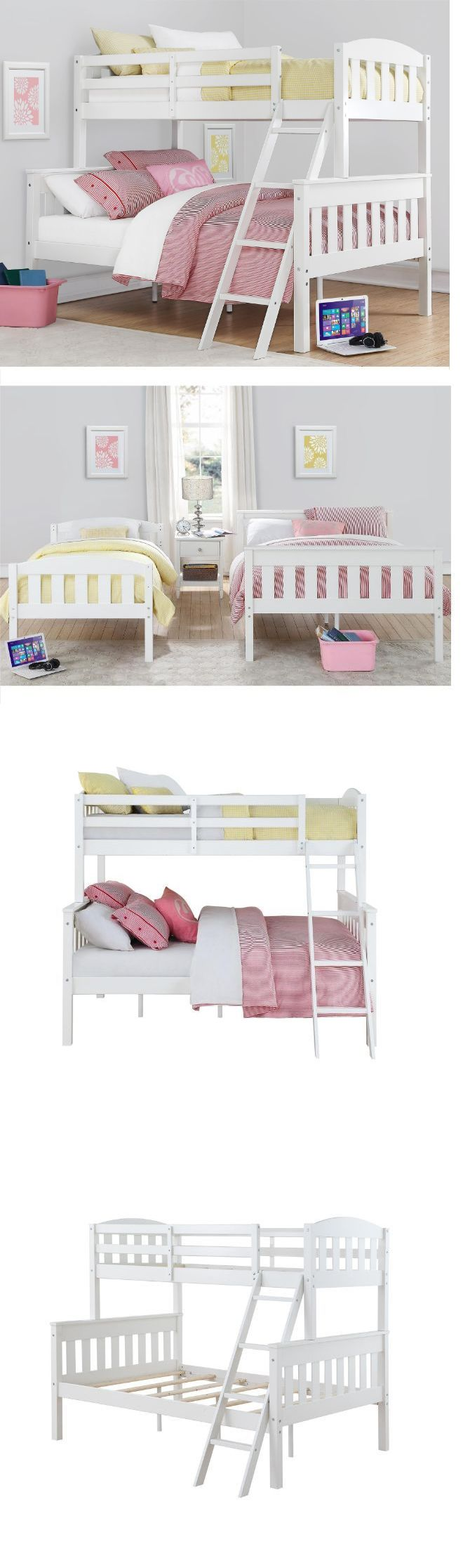 Bedroom Furniture 66742: Bunk Beds With Twin Over Full For Girls Kids Stairs Ladder Set White Convertible -> BUY IT NOW ONLY: $399.99 on eBay!