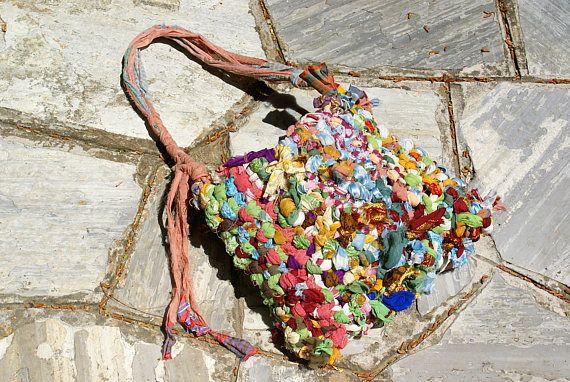 Scarf Tote Bag Colorful Handbag Hippie Bag Macrame Handwoven