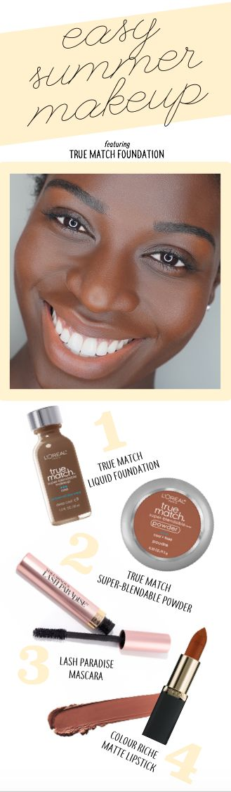 Easy, natural-looking summer makeup featuring True Match liquid and powder foundation.