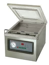DELIVERED NATIONWIDE 6 MONTH WARRANTYCommercial Single In-Chamber Vacuum Packing Sealer, with front sealing bar.Unit is ideal for sealing food, pharmaceutical, chemical, electronic and other items.Very easy to use and requires little maintenance.Control panel allows you to adjust the vacuum time, sealing time, and sealing temperature.SPECIFICATION:Chamber Size – 280mm x 330mm x 90mmVacuum - ≤1KPAPower – 220vWeight – 36 kgJohn Frey 074 942 1380