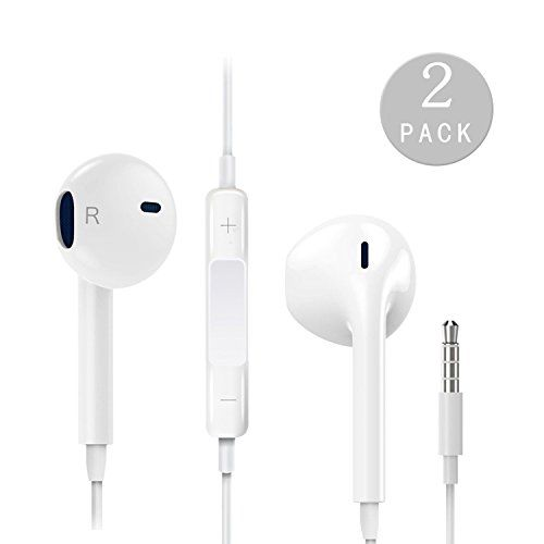 Aalio Earphones with Microphone [2 Pack] Premium Earbuds Stereo Headphones and Noise Isolating headset Made for Apple iPhone iPod iPad - White