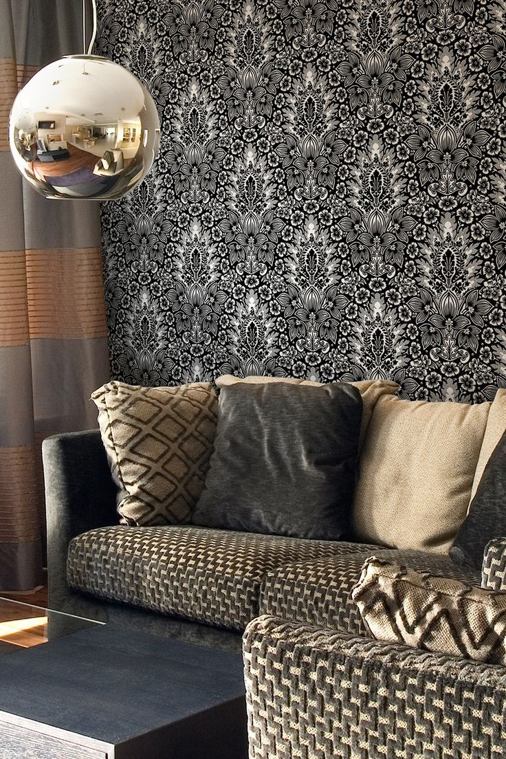 Polynesian Damask Removable Wall Decal - Black... Love the wall... Not diggin the weird gold ball light.