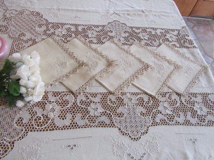 Fancy Vintage Needle Lace Embroidered Banquet Tablecloth 12 Napkins Set Ecru   eBay
