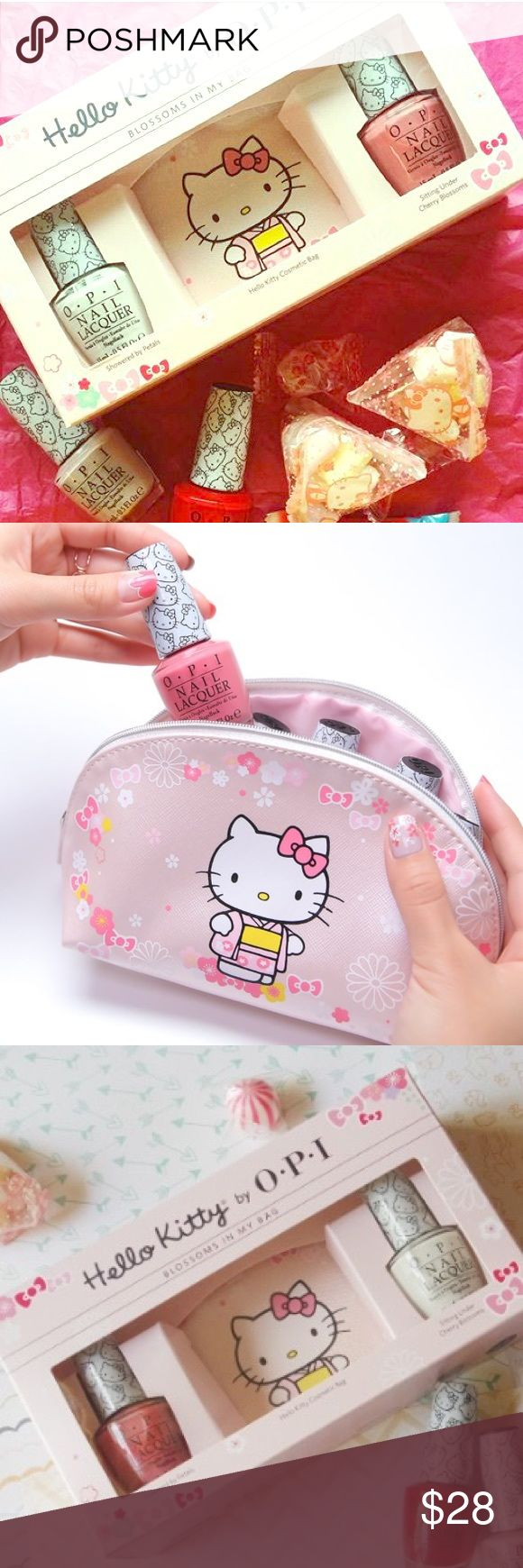 🍒OPI Hello Kitty cherry blossom nail gift set This Hello Kitty for OPI gift set is so cute!!! Includes 2 polishes and cosmetic bag with cherry blossom design. Must have for any Hello Kitty fan! Polishes are versatile white and light pink. New in box. *NOTE: these are stock photos. My box is a little damaged. Not horrible (product is all ok!!), but just enough that it isn't pristine for gift giving. But who would want to give this adorbs kit away anyways?! 🚫trades. Will add photos of actual…