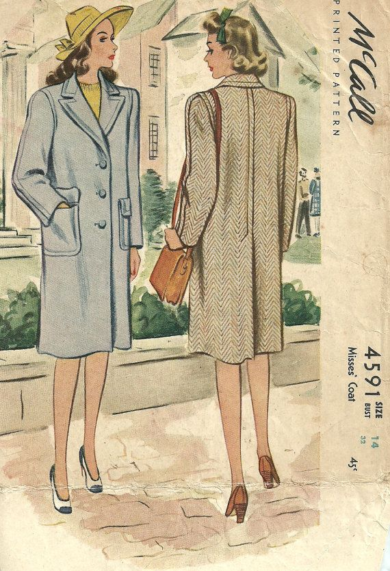 McCall 4591 Vintage 40s Sewing Pattern Coat by studioGpatterns