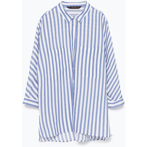 Zara Striped Shirt With Kimono Sleeves (49 AUD) ❤ liked on Polyvore featuring tops, shirts, blouses, stripes, zara, white stripes shirt, zara top, white shirt, striped top and zara shirt