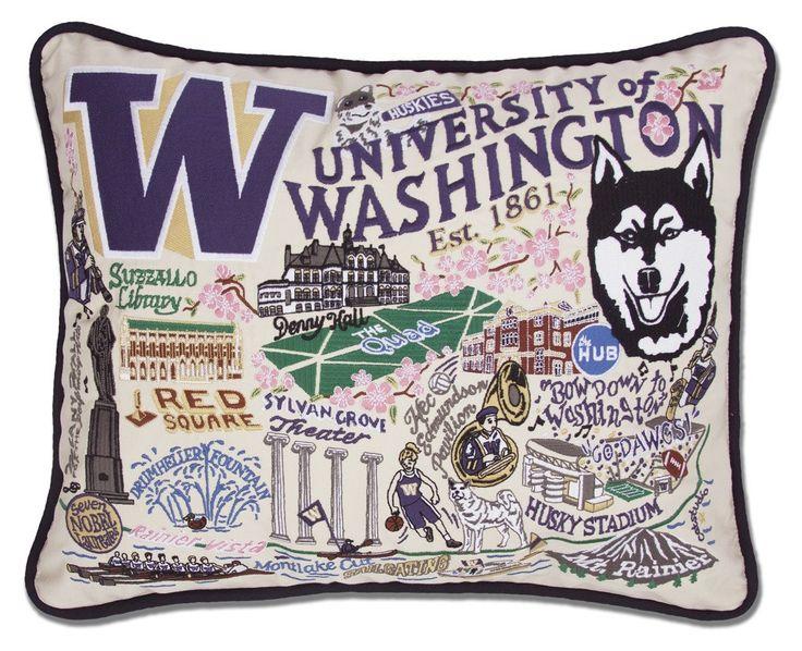 CatStudio Embroidered University of Washington Pillow