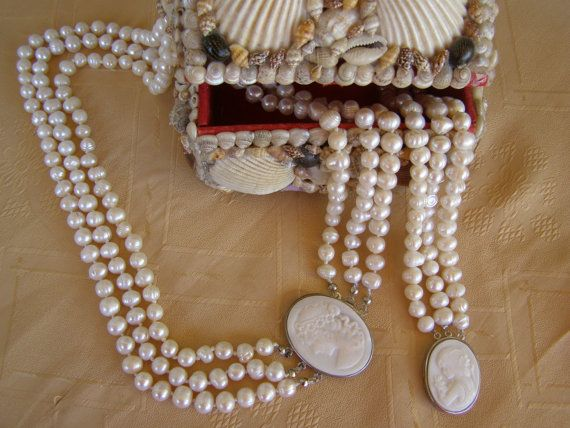 SALE Cameo ivory fresh water pearls jewelry set by Mpoulitsa