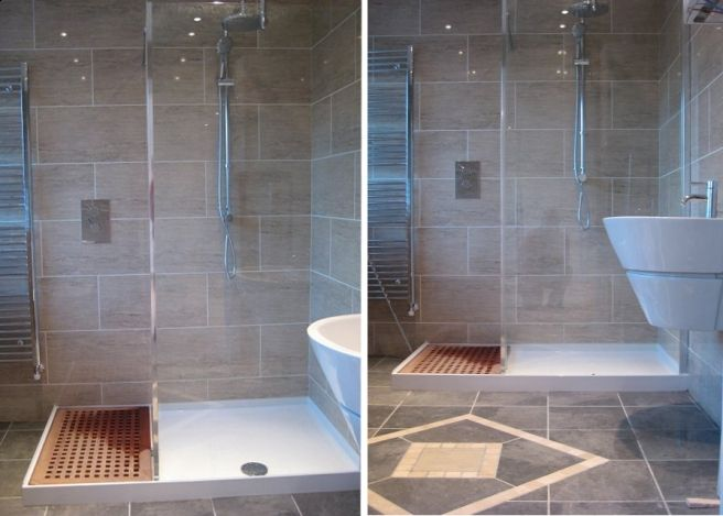 corner wet room #bathroom j'aime l'idée du paillasson intégré pour s'égoutter les pied et ne pas glisser ...