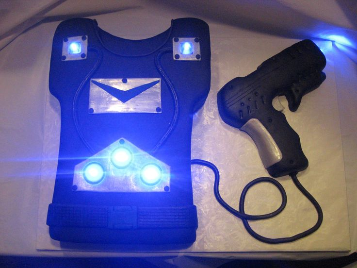 Laser Tag! - I used submersible LED lights in this cake. The gun is RKTs.