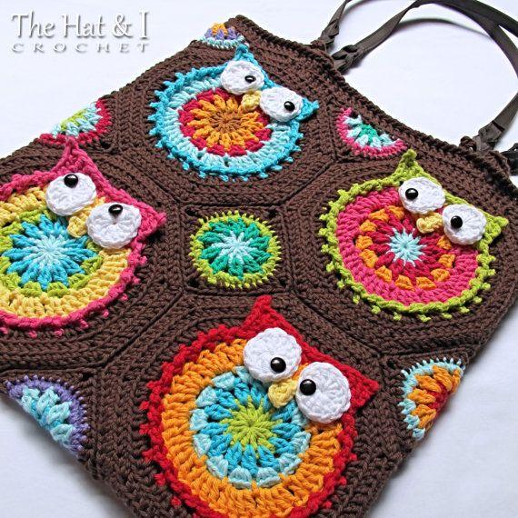 CROCHET PATTERN  Owl Tote'em  a colorful crochet owl by TheHatandI
