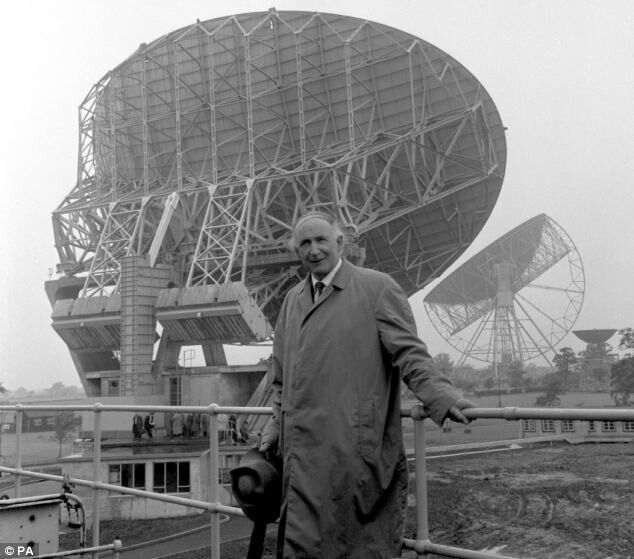 Sir Bernard Lovell - founder and co-creator (along with civil engineer Charles Husband), of the great Mk I radio telescope at Jodrell Bank - Photographed here in the 1960s close to the Mk II telescope.