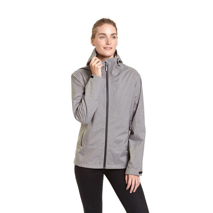 Women's Champion Hooded Waterproof Rain Jacket, Size: Medium, Grey