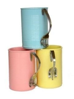 48 DIYs For Average Tin Cans~  Bend silverware into a handle shape, then glue to the sides of painted tin cans.